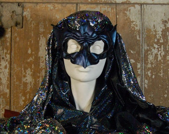 leather bird mask-Nightjar-Owlet-frogmouth species-color-shift patina, cyan-purple-indigo