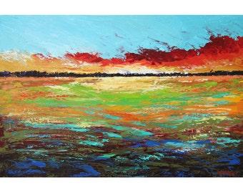 paysage peinture ORIGINAL paysage abstrait nuages arbres impressionnisme acrylique coucher de soleil or rouge aqua rouille toile 24 x 36