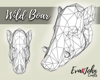 Papercraft Wild Boar/ DIY Paper Sculpture / Origami Digital Download / Faux Taxidermy Wild Boar / Papercraft Template / Pig Head