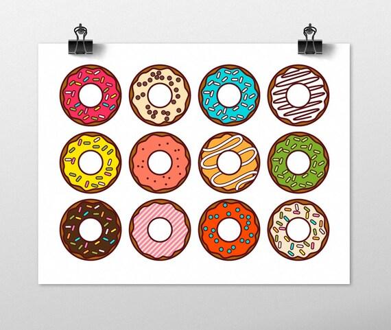 Colorful Kitchen Wall Art: Donuts Art Print Kitchen Wall Art Fun Art Print Colorful