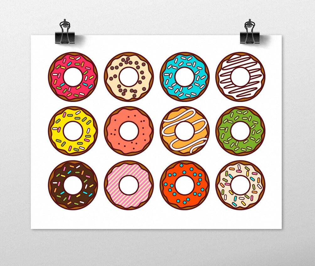 Donuts art print kitchen wall art fun art print colorful for Colorful kitchen wall art