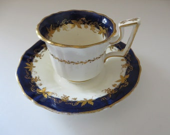 Antique 1890's cobolt blue and gold coffee cup and saucer