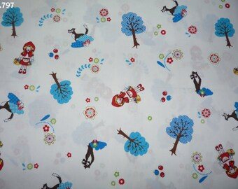 Fabric C797 little Red Riding Hood / coupon blue trees 35x50cm