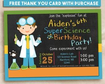 Science party invitation, science birthday invitation, science party printable