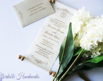 Unique invitations etsy baptism mini scroll in the box set of 25 royal theme scroll invitation stopboris Choice Image