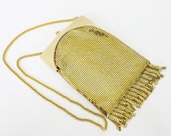 SALE Whiting and Davis 1970's Vintage Gold Mesh Glam Flapper Fringe Evening Bag