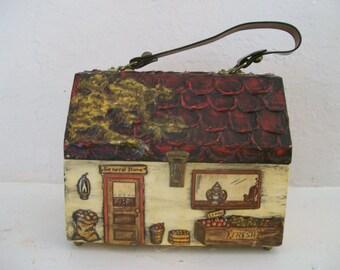 vintage 1960s wood box purse handbag general store excellent condition