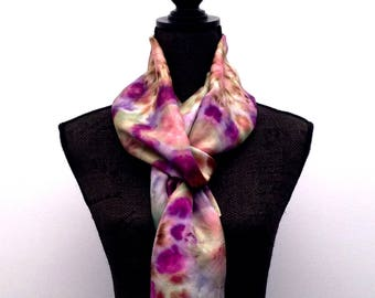 Womens Silk Scarf Handmade Scarf Gift For Her Silk Scarf Womens Accessories Hand Painted Scarf Hand dyed Scarf Purple Silk Scarf Shawl Wrap