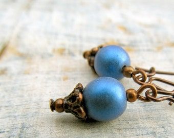 Rustic small Blue earrings afordable woman's gift soft denim blue dangle earrings copper jewelry