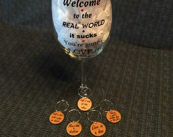 Friends TV Show Wine Charms - Set of 5 Phrases Monica Uses To Describe Joey, Chandler, Phoebe, Ross, & Rachel - WC004