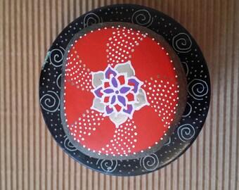 Mandala Painted Sea Stone/Sacral Chakra/Meditation Aid/Reiki