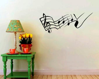 Treble Clef With Notes Pattern Musical Symbol Sticker Home Decorative Murals Interior Decals Vinyl Wall Art Decor Silhouette Design (4mlnt)
