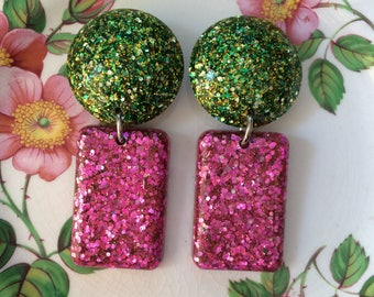 Large Vintage Inspired Confetti Lucite Resin Glitter Drop Earrings - Green & Pink Sparkle- DARLING DUSTY