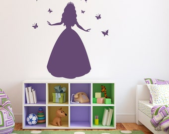 Princess Wall Decal with Butterflies - Girl Wall Art - Butterfly Wall Decals - Large
