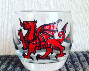 Welsh Dragon Glass / Hand Painted / Wales / Welsh Gifts / Painted Glass / Welsh Dragon / Celtic Designs/ Glass Art