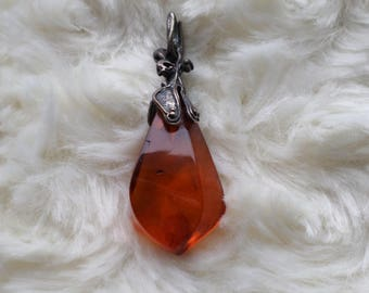 Very Beautiful Cognac Natural Amber and Sterling Silver Pendant