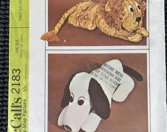 Vintage McCall's 2183 Stuffed Animals Dog Lion Sewing Pattern UNCUT
