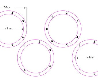 Stove cooker top hob dial number stickers with left facing zero  1-6 Clockwise