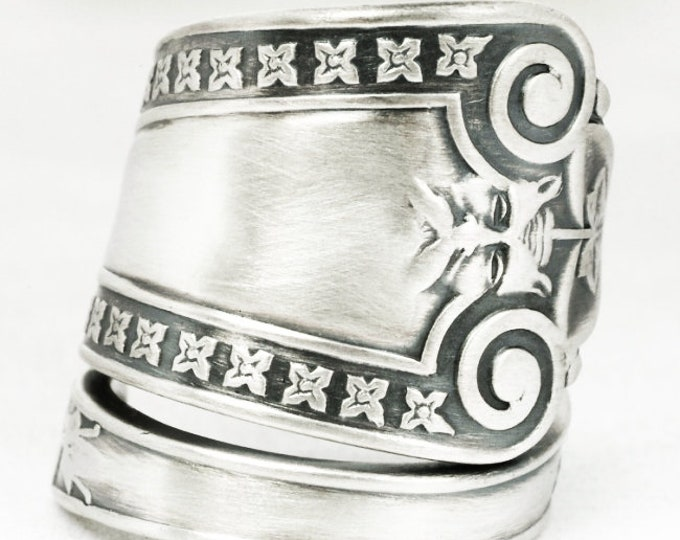 Silver Green Man Ring, Antique Sterling Silver Spoon Ring ca 1866, Ivy Leaves Ring, North Wind, Unique Thumb Ring, Custom Ring Size (7113a)