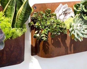 Hanging planter, succulent planter, air plant planter, copper planter, wall planter, indoor planter, outdoor, vertical garden