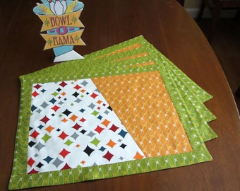 Retro Atomic Mid Century Style Bowling Bowl-o-Rama Place Mats, Hand Made by Tiki Queen