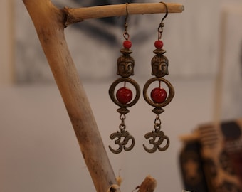 Earrings bronze color boudhha red ethnic 7 cm