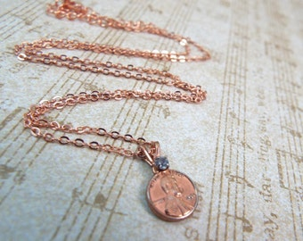 Lucky Penny Rose Gold Pendant - Vintage Luck Charm - Split Personality Designs