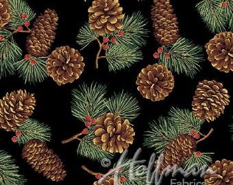 Hoffman Bali Fabrics - Cardinal Carols - Q7626-4G-Black-Gold - 100% cotton screenprint with metallic accent