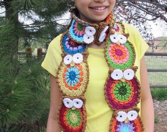 Crochet Pattern - B HOO UR Scarf - a crochet owl scarf pattern, colorful crochet owl pattern, crochet scarf pattern - Instant PDF Download