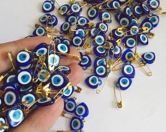Tiny evil eye safety pins  - 100 pcs - resin evil eye beads - nazar boncuk - turkish evil eye - wedding favors - greek evil eye