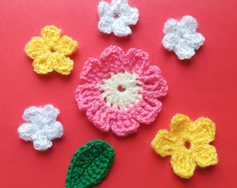 Crochet motif set of 7 flowers, Crochet flower appliques, pink, white, yellow, crochet flower set, scrapbooking, cardmaking, crochet flowers