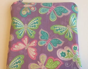 Butterflies- Snack Bag/ Reusable Snack Bag/ Lunch Bag/ Lunch Pouch/ Reusable Bag