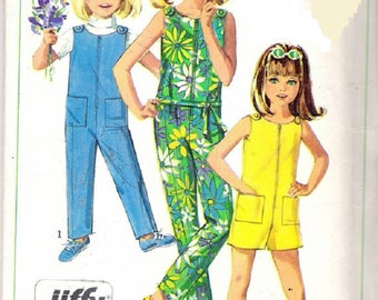 1960's Simplicity 7154 Child's And Girls Jiffy Jumpsuit In Two Lengths, Sewing Pattern, Size 6, UNCUT