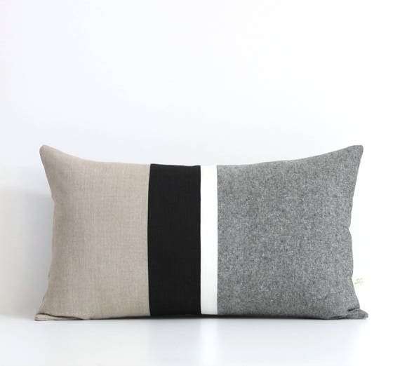 black and white chambray striped lumbar pillow 12x20 modern. Black Bedroom Furniture Sets. Home Design Ideas