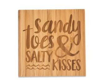 Sandy Toes & Salty Kisses  Bamboo Coasters 4pk