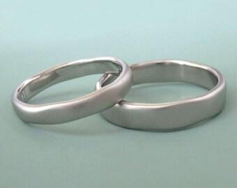 Palladium 950 River Wedding Band, Modern Organic Wedding Ring, Choose a Finish and Width, Free Engraving