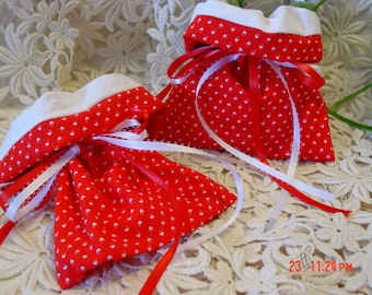 Gift Bag--Set of two--Red with White Hearts
