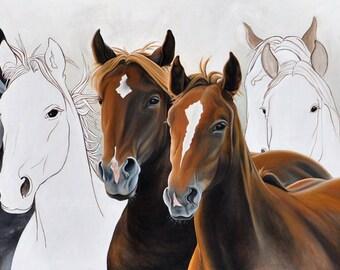 Horses Art Print, Wild Horses Art, Equestrian Art Print, Brown Horses Print, Wild Mustangs Art, Horse Wall Art, Horses Wall Decor
