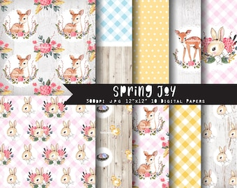 Spring Joy Easter Digital Paper Set  I N S T A N T • D O W N L O A D Easter  and Spring Scrapbooking papers