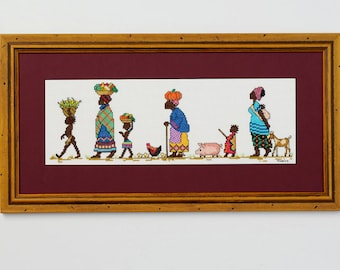 To Market - An African counted cross stitch design