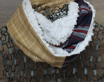 Upcycled Chenille and Plaid Women's Scarf