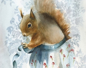 "squirrel art, squirrel art print, squirrel painting, squirrel - "" A New Apron """