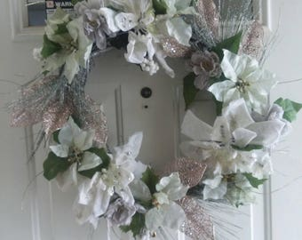 Minty Winter Green, Gray, and SIlver Wreath