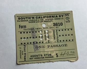 Southern California Railway Passenger Ticket 1887