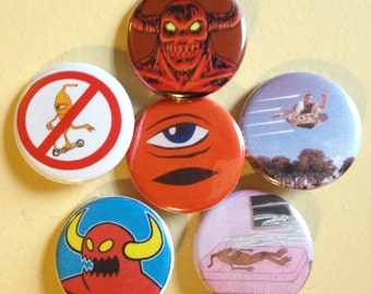 """Toy Machine pin back buttons 1.25"""" set of 6"""