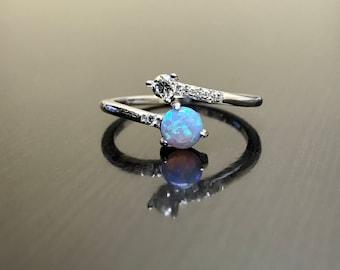18K White Gold Art Deco Diamond Opal Engagement Ring - Art Deco 18K Gold Opal Diamond Wedding Ring - 18K Gold Opal Ring - Opal Diamond Ring