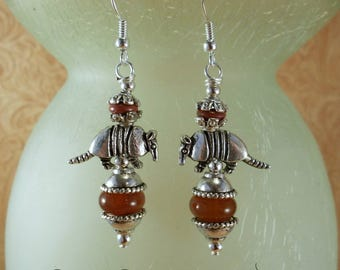 Southwestern Cowgirl  Earrings - Armadillos with Carnelian and Brown Howlite