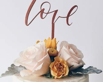 "Calligraphy Cake Topper, Wedding, Baby Shower, Bridal Shower, Bride - Gold/Copper/Wood - ""Love"""