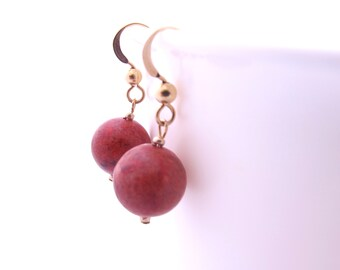 Red Coral Earrings Gold, Red Coral Dangle Drop Earrings with Goldfilled Earwires, Big Ball Earrings, Red Stone Earrings, Red Earrings