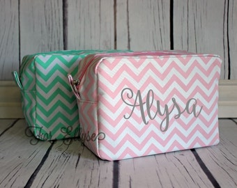 LIGHT PINK Chevron Cosmetic Bag - Personalized or Monogrammed
